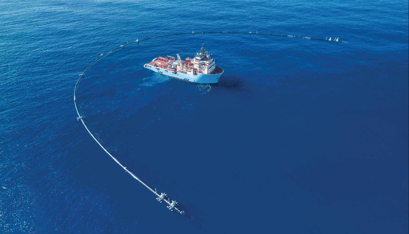 Ocean Cleanup plastic-catching boom