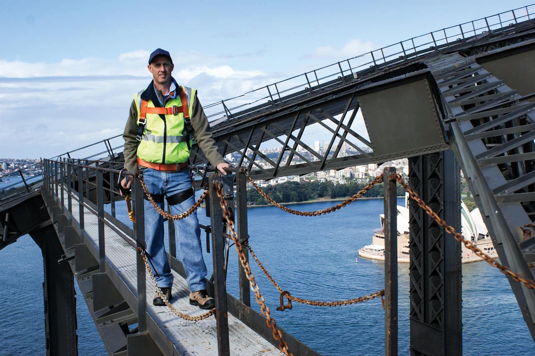 Civil engineer Peter Mann at work on the Sydney Harbour Bridge.