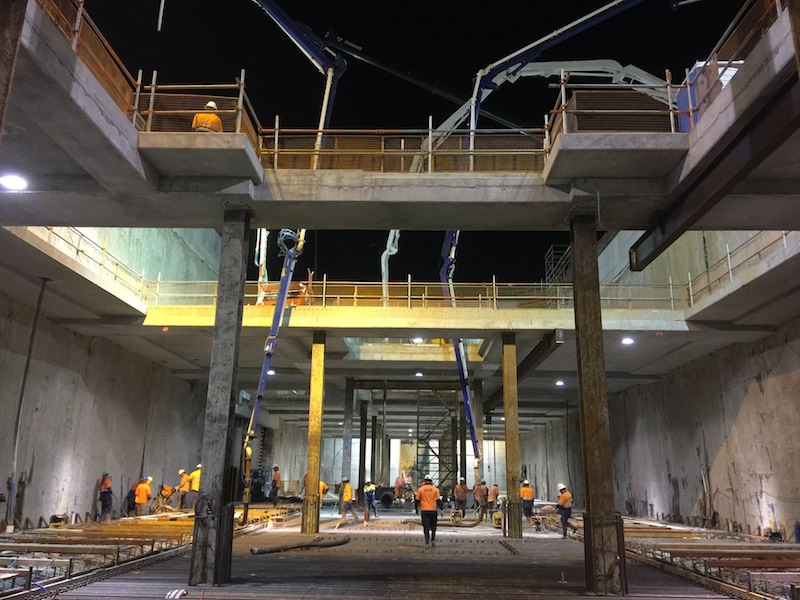 Construction on Perth's new airport station