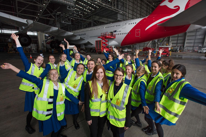 Felicity Furey and students visiting Qantas