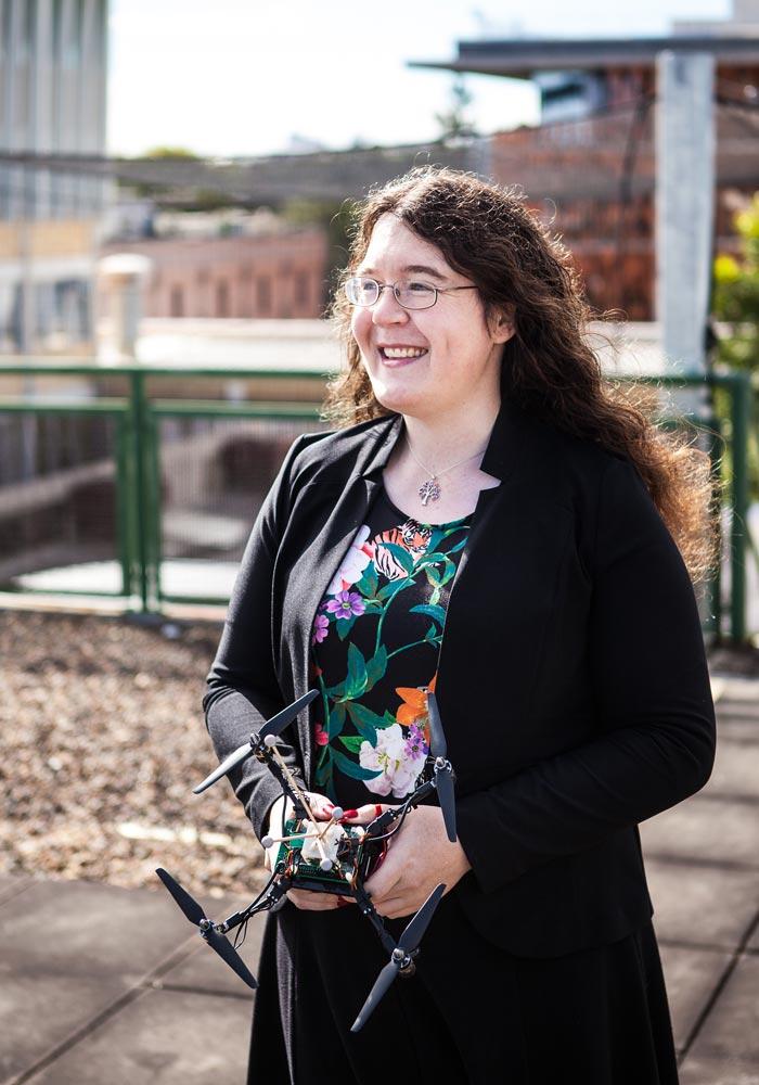 Associate Professor Pauline Pounds working on bipedal robots