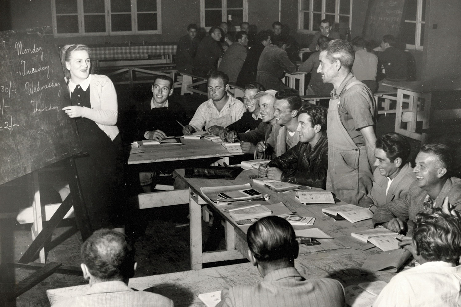 English class in progress for migrant scheme workers in Cooma township. (Image: National Archives of Australia/Fairfax Media)