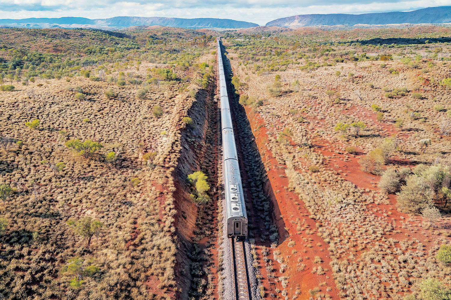 The Ghan as it heads south towards Alice Springs