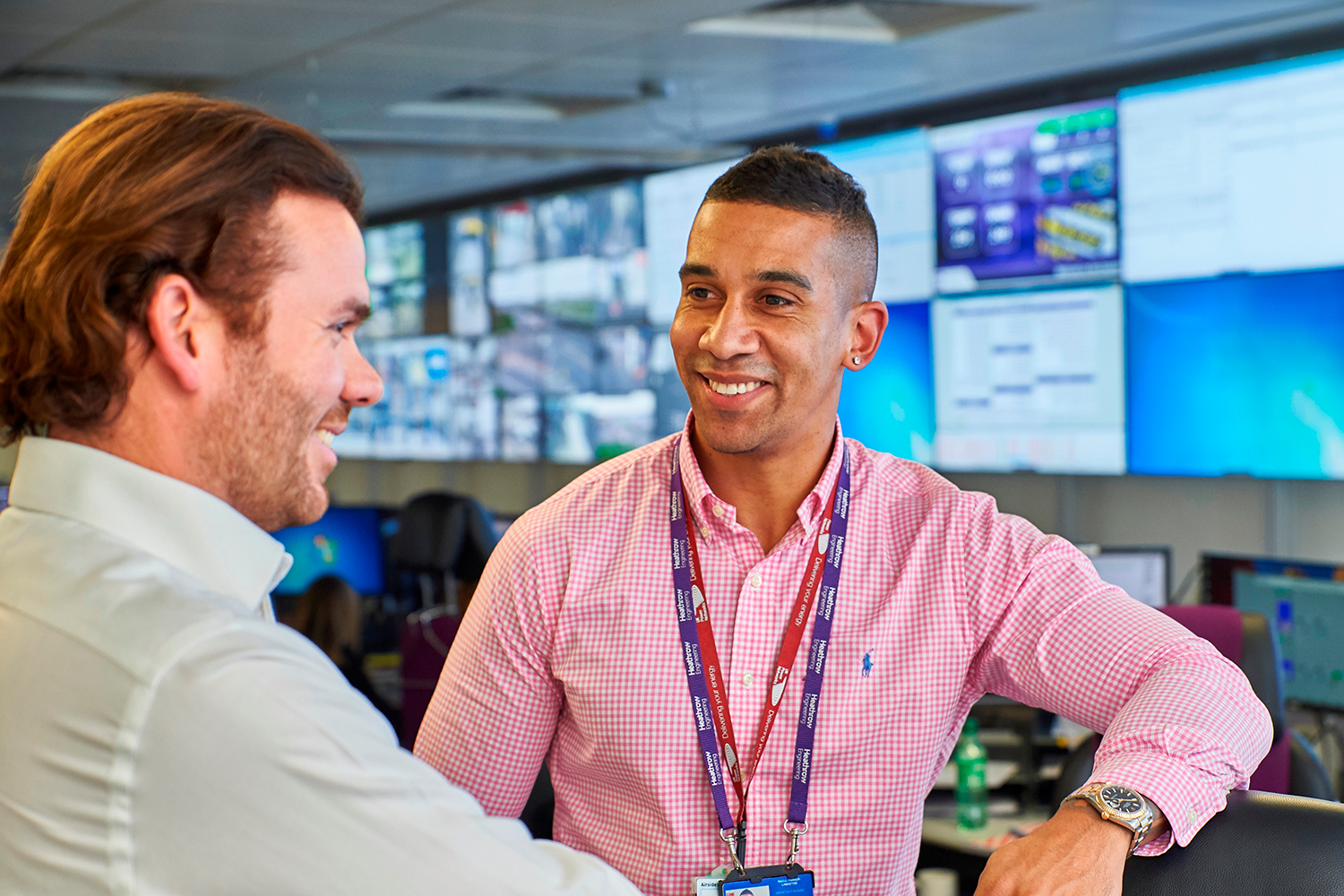 Raoul Parkar-Labastide & Louis Cruickshank Airport Duty Engineers working in the Heathrow Airport Operations Centre. (Image: © Heathrow)
