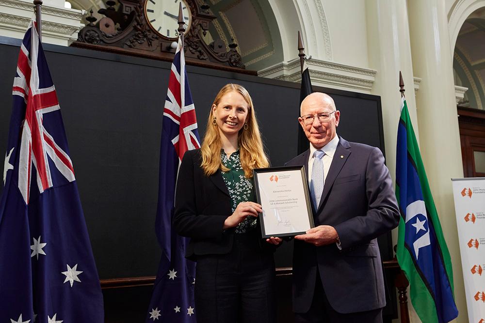 Alli Devlin receiving her John Monash scholarship.