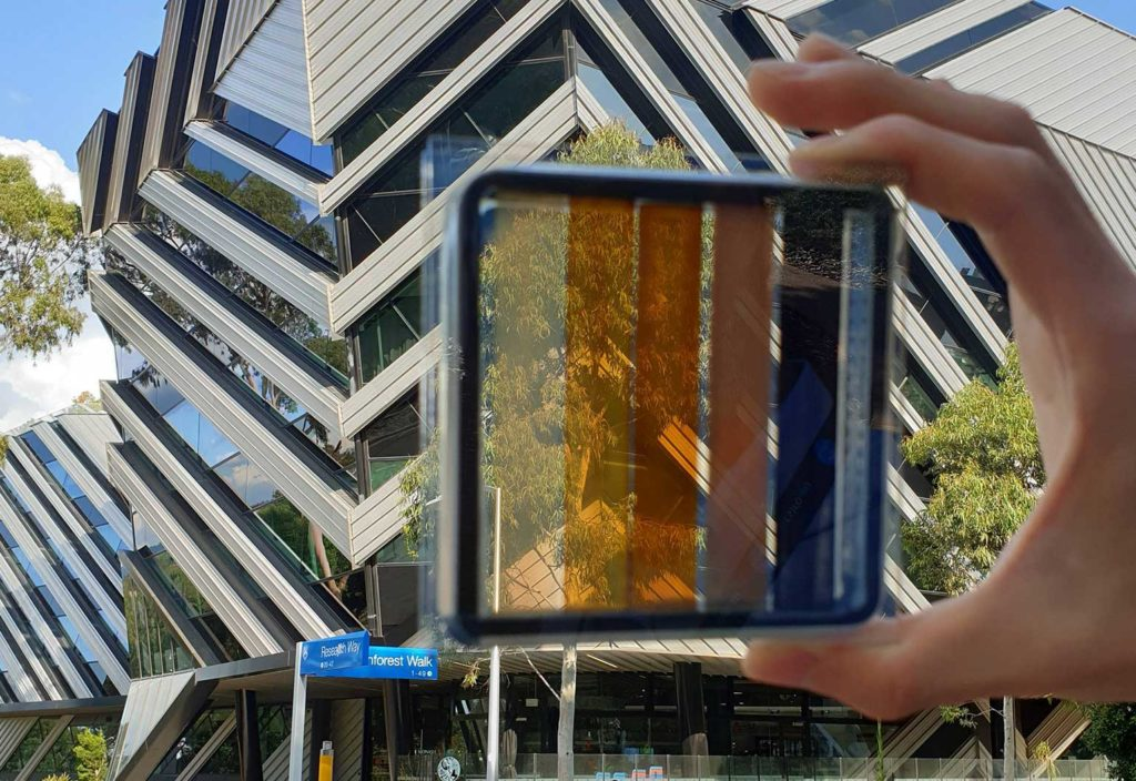 A semi-transparent perovskite solar cell with contrasting levels of light transparency. (Image: Dr Jae Choul Yu)
