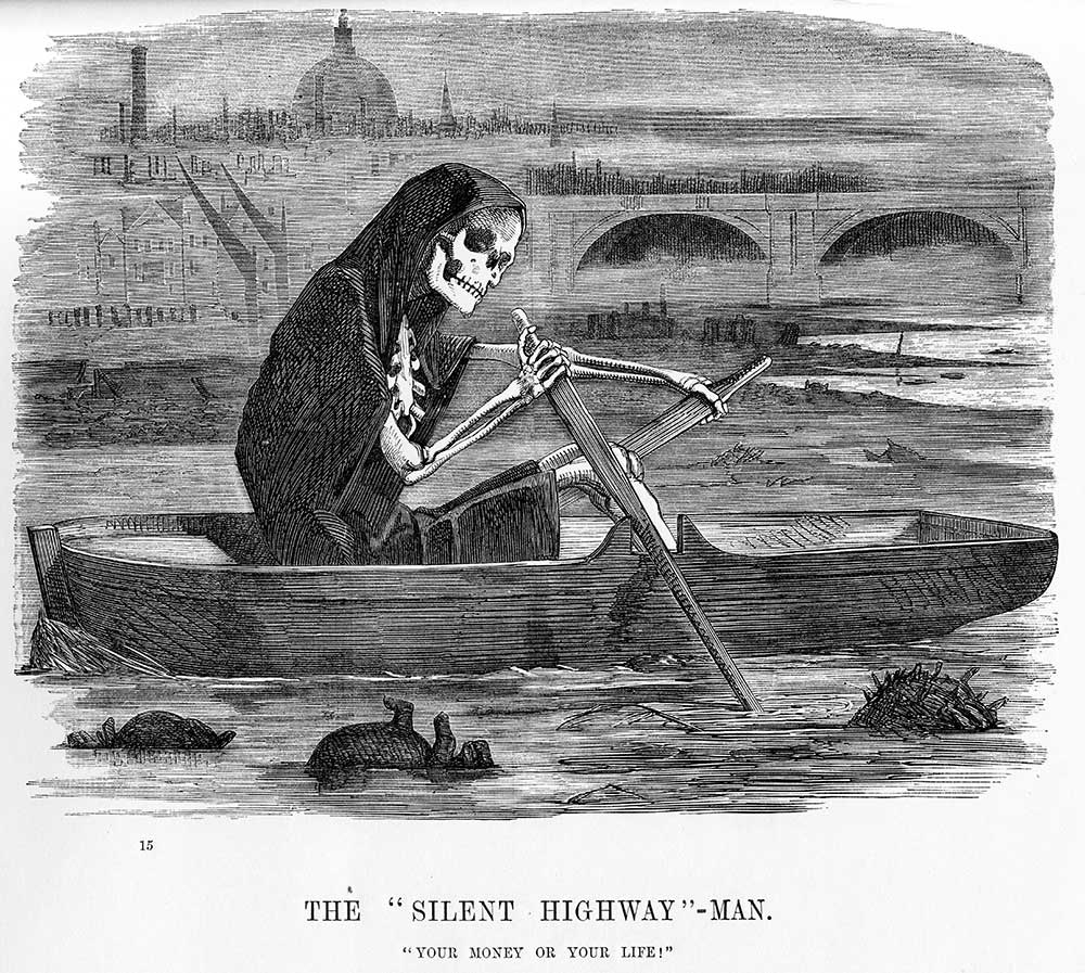 A cartoon published in Punch magazine, 10 July 1858, showing the 'death' rowing a boat along the Thames.