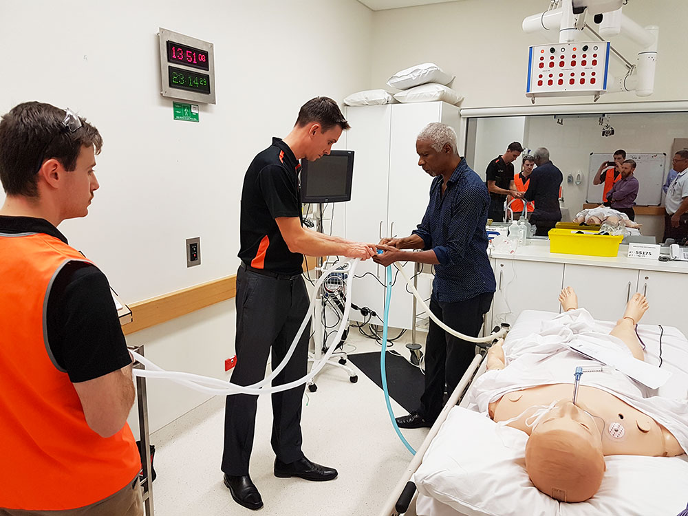 Demonstrating the prototype at John Hunter Hospital in Newcastle, NSW. (Image: Ampcontrol)
