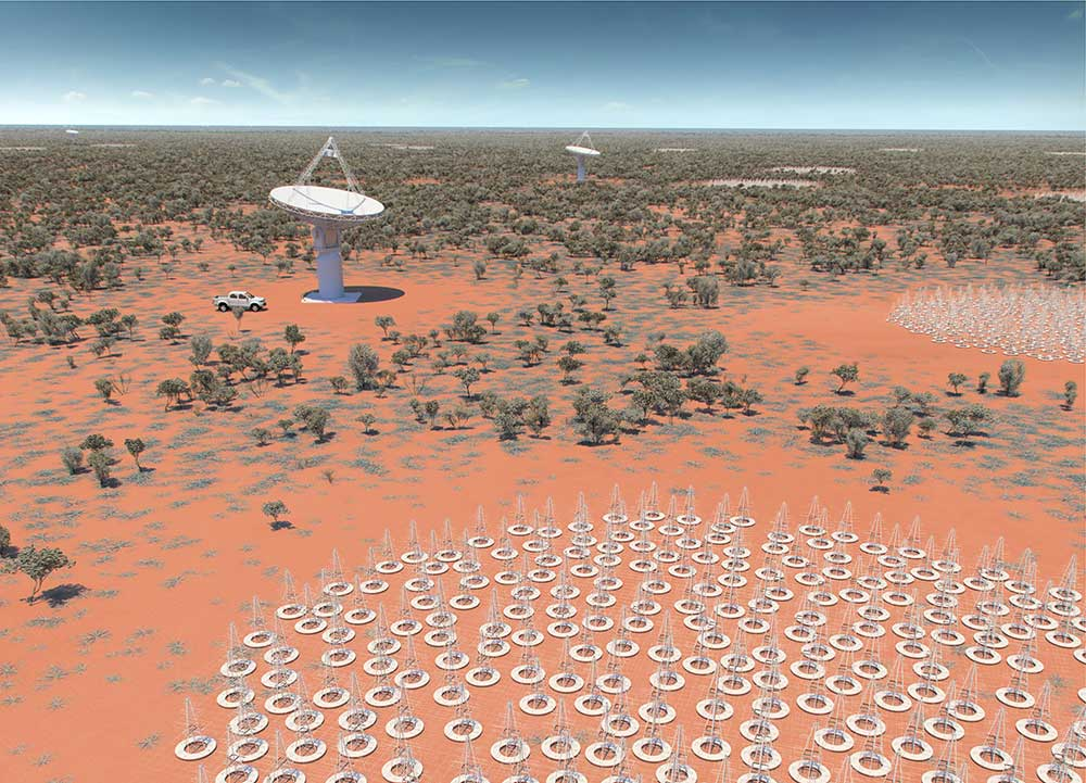 An artist's impression of the future Square Kilometre Array (SKA) in Australia. Up to 132,000 low frequency antennas (resembling metal Christmas trees) will be built. (Image: CSIRO)