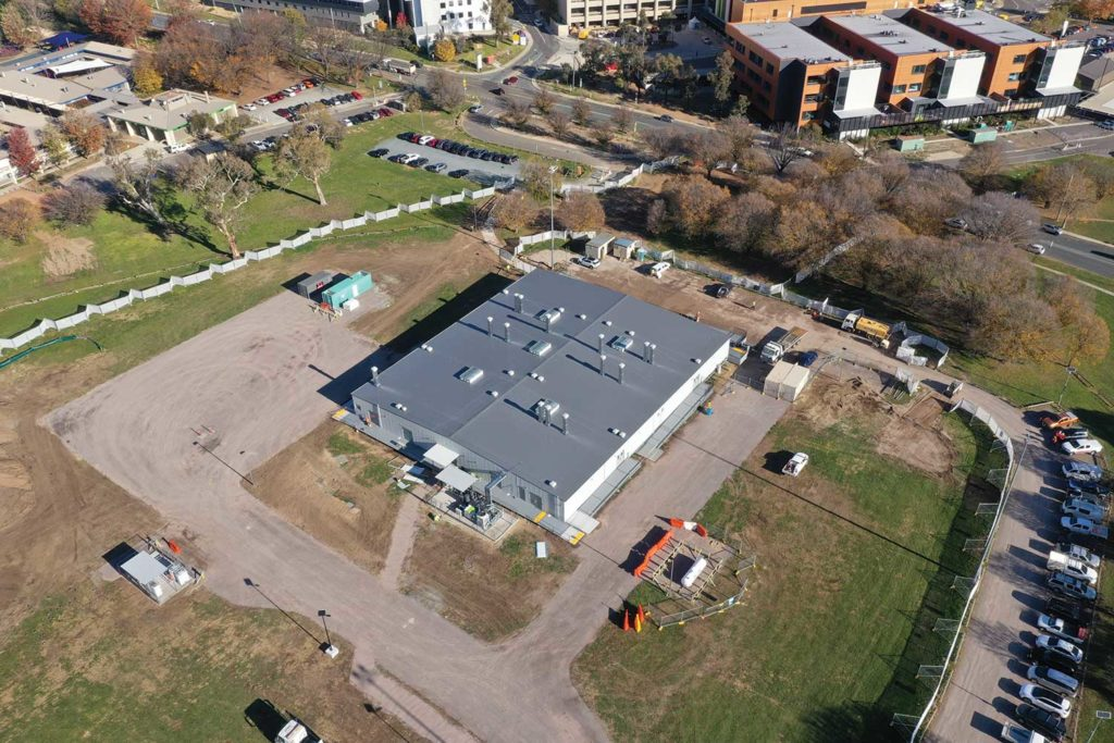 Aerial view of the hospital on day 38.