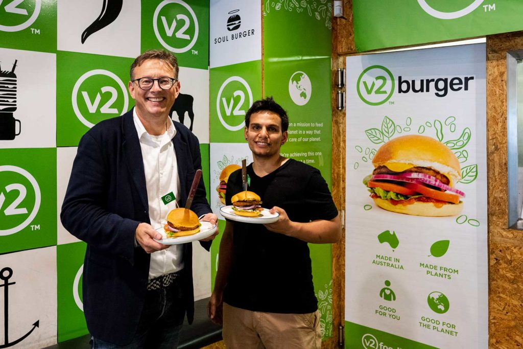 CEO and founder of v2food, Nick Hazell (left).