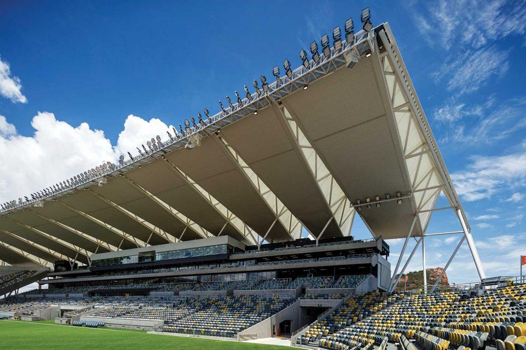 The stadium roof.