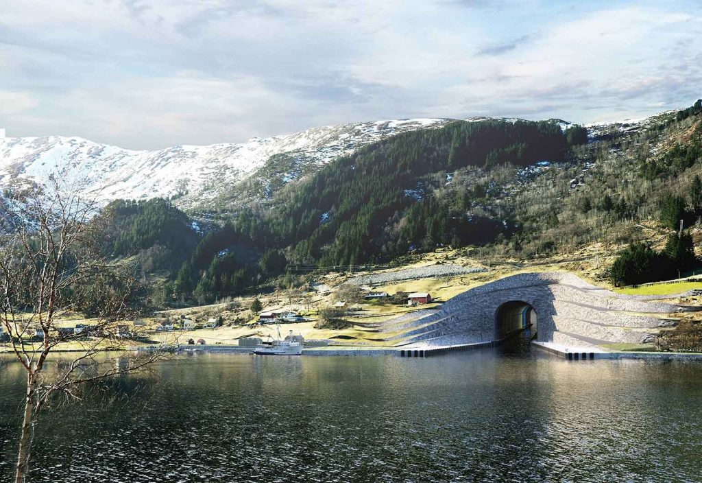 For practical and safety reasons, the entrance is proposed built as terraces. (Image: Norwegian Coastal Administration/Snøhetta)