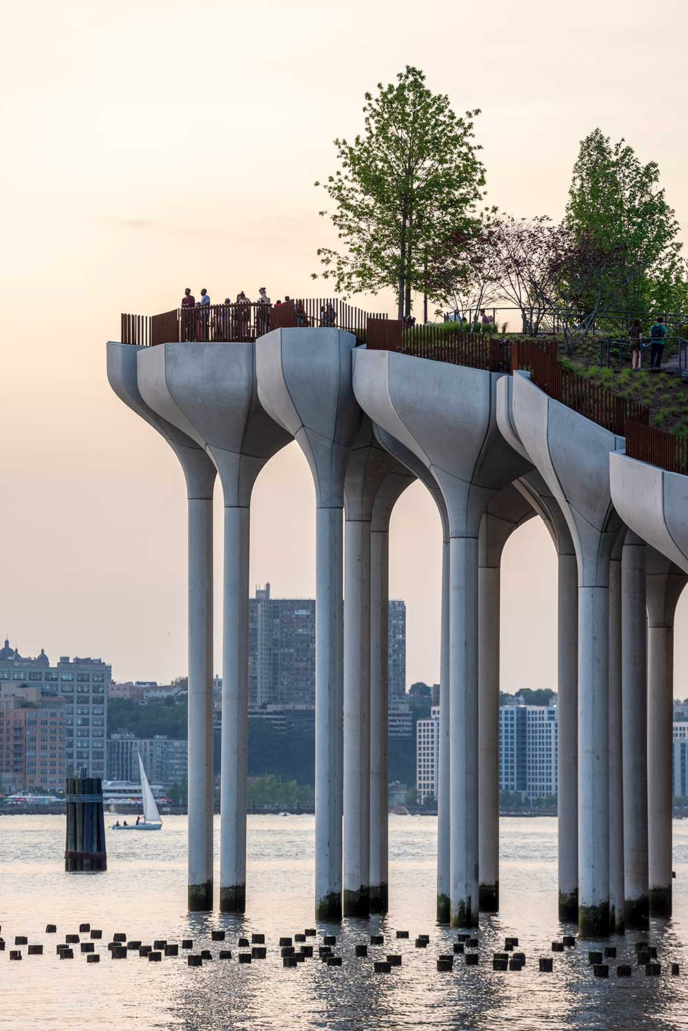 Little Island's original design concept pictured a park 'floating' above the Hudson River, propped up by a complex array of piles of differing heights. (Image: Timothy Schenck)