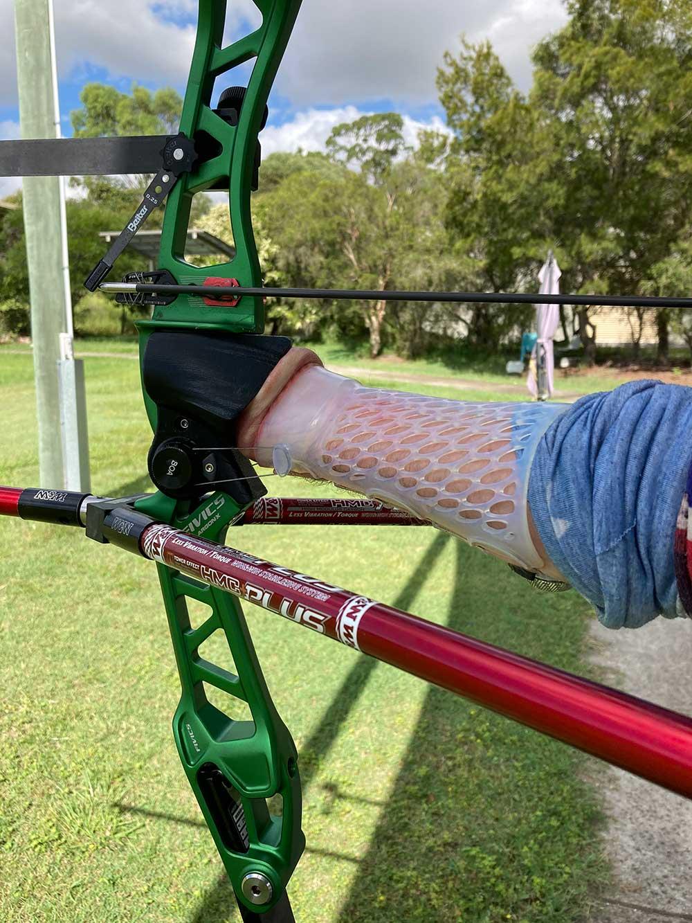 Paralympic athlete Taymon Kenton-Smith's arm brace and grip